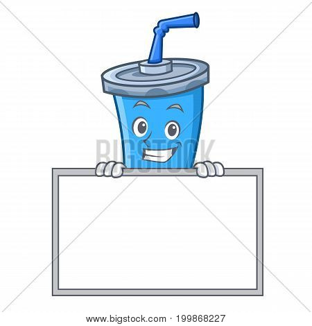 Grinning soda drink character cartoon with board vector illustration