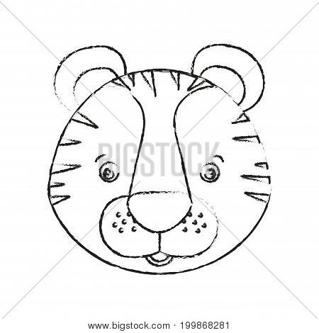 blurred silhouette caricature face tiger cute animal vector illustration