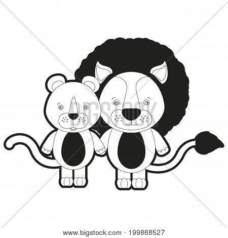 sketch silhouette monochrome caricature couple cute lion and lioness animals vector illustration