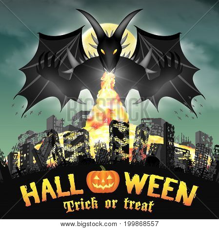 halloween giant devil monster destroy city by fire