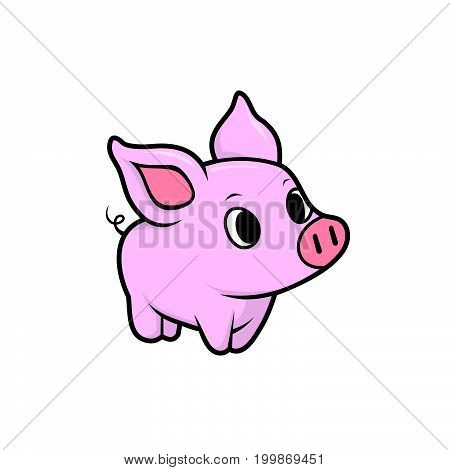 Cute pig. Cheerful pig. Funny pig vector. Domestic isolated mammal, agriculture cute pink pig and piggy snout, small icon funny young cartoon animal. Rural silhouette farm animal cartoon cute pig.