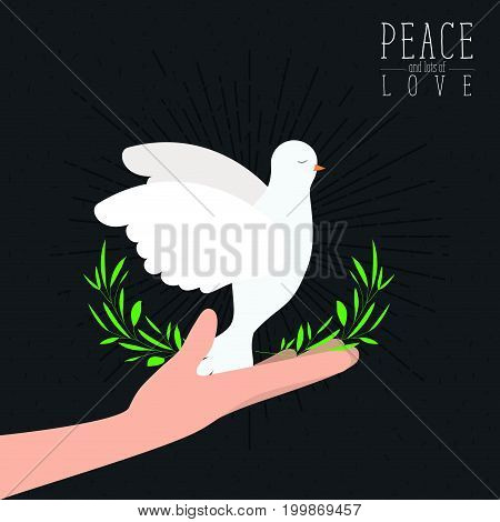 black color poster with sparks and hand holding a pigeon with olive branch in peak with decorative half crown of leaves and text peace a lots of love with linear brightness vector illustration vector illustration