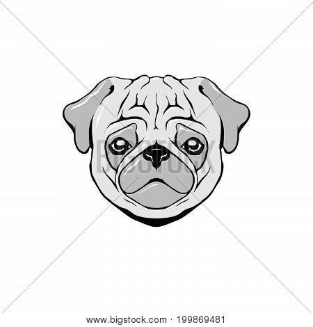 The head of the bulldog dog being sad ,, vector, eps10