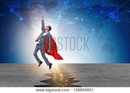 Superhero businessman escaping from difficult situation