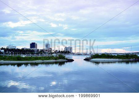 West Palm Beach, Florida, Skyline at Dusk