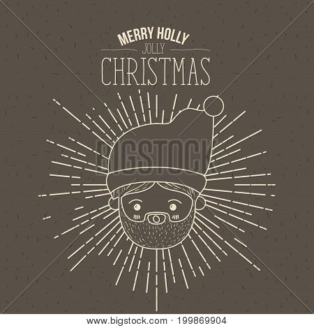 brown poster with sparks and silhouette cute closeup face santa claus with surprised expression and text merry holly jolly christmas vector illustration