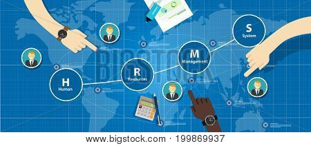 HRMS Human Resources Management System vector company employee