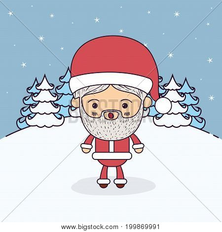 winter landscape background with full body caricature of santa claus with surprised expression vector illustration