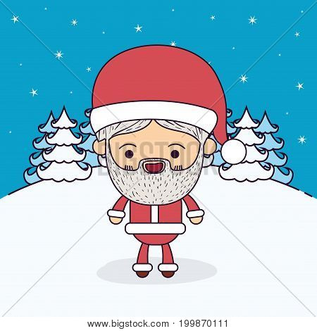 winter landscape background with full body caricature of santa claus with happiness expression vector illustration