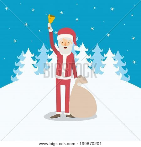 blue winter landscape background with full body caricature of santa claus with bell and bag of gifts vector illustration