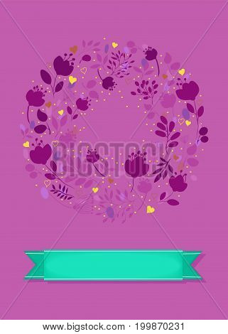 Graceful Floral Greeting Card. Ring of purple flowers and yellow hearts. Green banner for custom text. Pink background