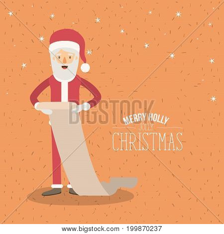 orange poster with sparks and stars with full body caricature of santa claus with list of gifts merry holly jolly christmas vector illustration