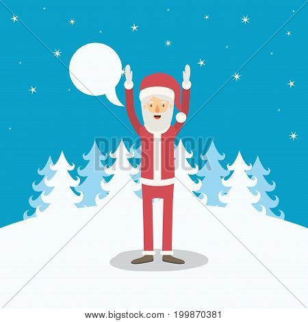 blue winter landscape background with full body caricature of santa claus with dialogue box and hands up vector illustration