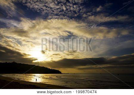 Sunrise with silhouette Island the beach Ban Krut Beach in Prachap Kirikhun Province Thailand is famous for travel