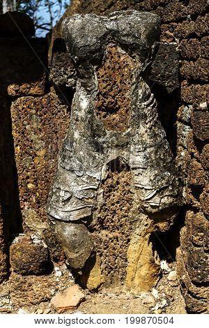 Wat Khao Suwankhiri temple and ancient stature in Sisatchanalai Historical Park Sukhothai province Thailand