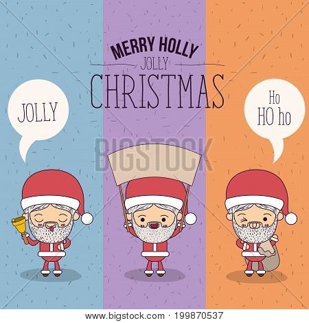 color banner sparks merry holly jolly christmas of set full body cute caricature of santa claus with placard wooden an dialogue box vector illustration