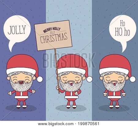 color banner sparks merry holly jolly christmas of set full body different expression caricature of santa claus with placard wooden an dialogue box vector illustration