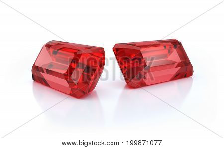 Precious stones two large beautiful rubies. 3d image. Light background.