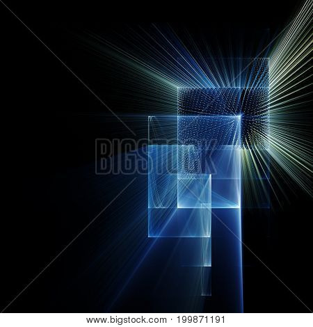 Abstract background element. Fractal graphics series. Curves, blurs and twisted grids composition. Blue and black colors.