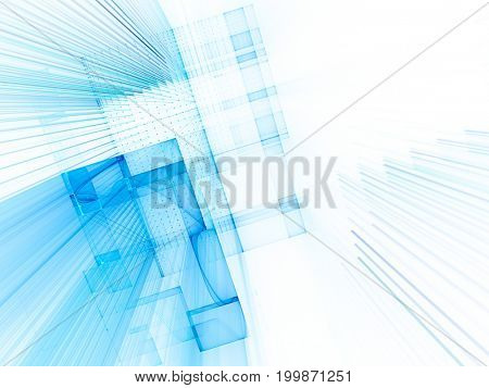 Abstract background. Fractal graphics series. Three-dimensional composition of grids and beams.