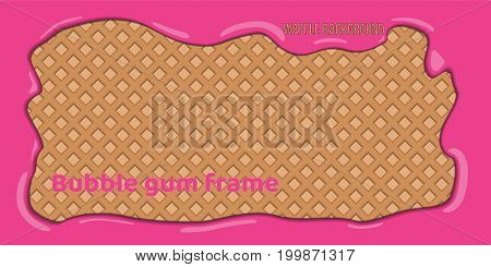wafer background with pink bubble gum frame vector illustration