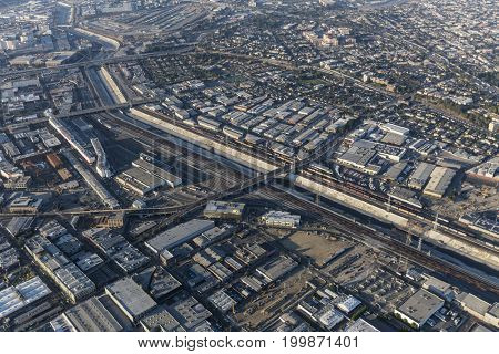 Aerial view of the Los Angeles River, downtown Arts District and Boyle Heights in Southern California.