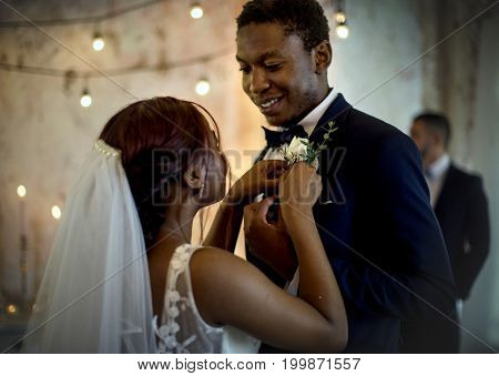 Newlywed African Descent Couple Together Wedding Celebration