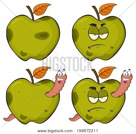 Happy Worm In A Grumpy Rotten Green Apple Fruit Cartoon Mascot Characters Series Set 2. Collection Isolated On White Background