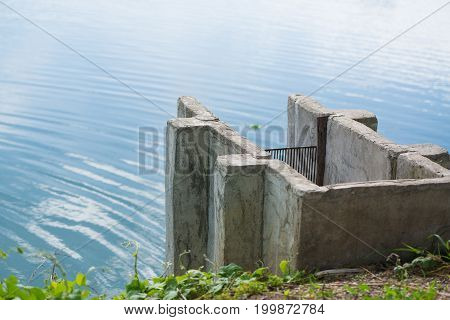 Concrete Drain Water In Fish Farms, Drainage Irrigation System.