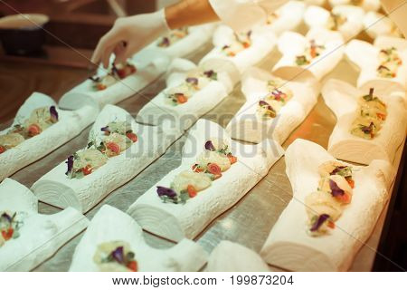 Blurry Background Vintage Color Style Of Decoration Foods By Chef Already For Luxury Dinner Party.