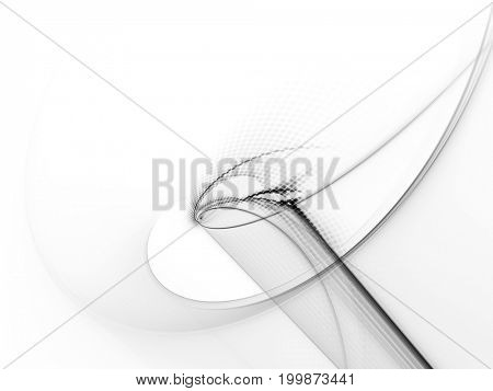 Abstract background element. Fractal graphics series. Curves, blurs and twisted grids composition. White texture.