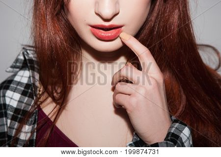 Seductive woman emotion. Beauty and fashion background. Flirty unrecognizable female. Sexual hints, romantic mood for youth, makeup closeup