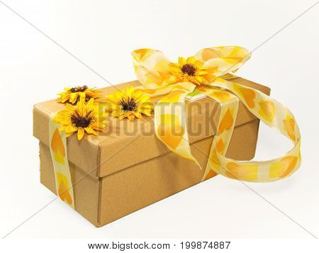 Decorative wrappage of gift box with bow