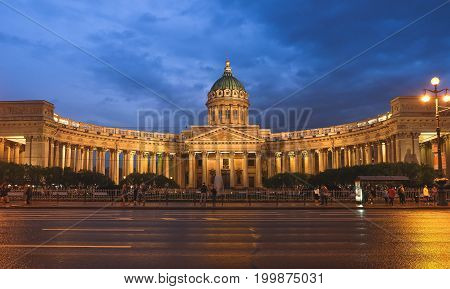 St. Petersburg, RUSSIA MAY 23 2017: Night scene of Kazan (Kazanskiy) Cathedral in Saint-Petersburg. Russia. Located on Nevsky Prospekt in the center of the city.