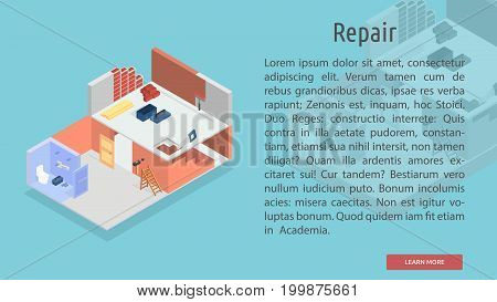 Isometric Repair Conceptual Banner | Isomatric Banner Design with hight quality vector | Use for business, marketing, concept and much more. The set can be used for several purposes like: websites, print templates, presentation templates, and promotional
