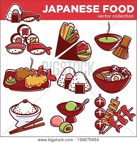 Japanese food traditional dishes set of sushi roll, fish miso ramen or udon noodle soup, dessert or seafood tempura and rice with chopsticks. Vector icons for Japan restaurant menu