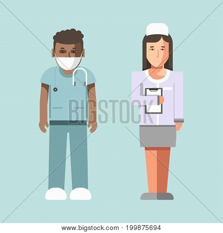 Medical workers or hospital doctors in hospital robe, mask and shoe covers. Man physician therapist with stethoscope and woman nurse or pediatrician. Vector flat isolated icons