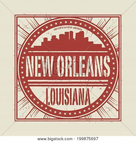 Grunge rubber stamp or label with text New Orleans Louisiana written inside vector illustration