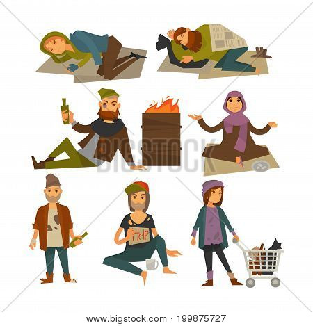 Homeless people, beggars or bum vagrants in poverty. Woman begging alms money, man in rags drinking alcohol and sleeping outdoor on street ground at fire barrel. Vector flat isolated icons