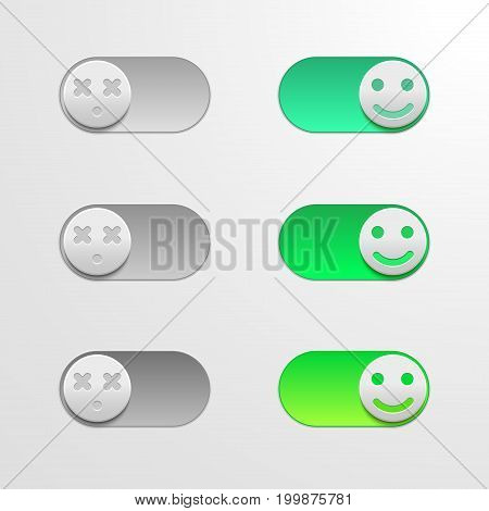 Toggle switch set, On and Off sliders, elements for your design on light backgound. The switch in the form of smiley.