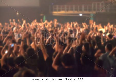 Blurry Image Background Of Many Audience Concert In Big Rock Concert.