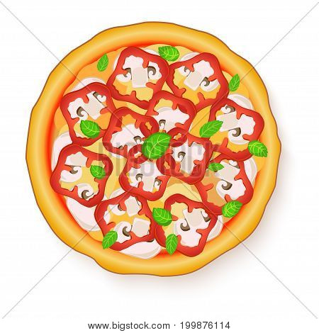 Vector illustration of Tasty, flavorful pizza isolated on white background. Vegetarian pizza with mushrooms and red bell pepper.