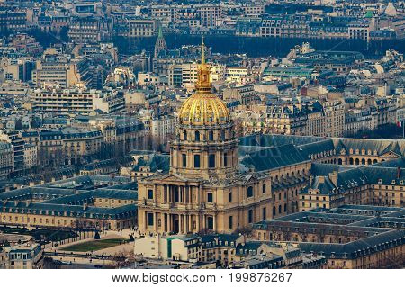 Top view on the Cathedral of Les Invalides with Napoleon's tomb in Paris, France