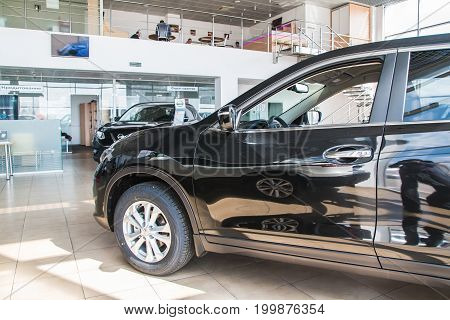 Showroom And Car Of Dealership Nissan In Kirov City In 2017