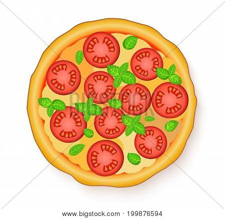Vector illustration of Tasty, flavorful pizza isolated on white background. Italian pizza Margherita