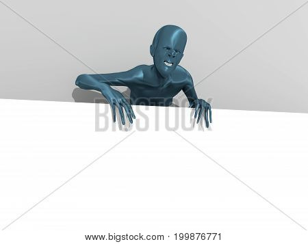 Zombie on grey background showing and displaying white placard or billboard ready for your text