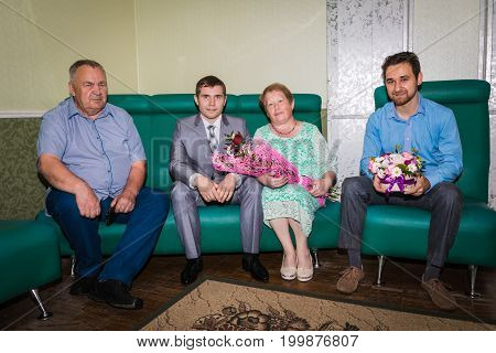 The Groom And Relatives In A Registry Office In A Special Room F