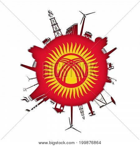 Circle with industry relative silhouettes. Objects located around the circle. Industrial design background. Flag of Kyrgyzstan in the center. 3D rendering.