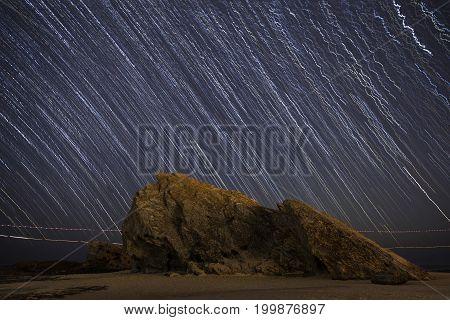 Star trails lighting up Currumbin Rock Gold Coast