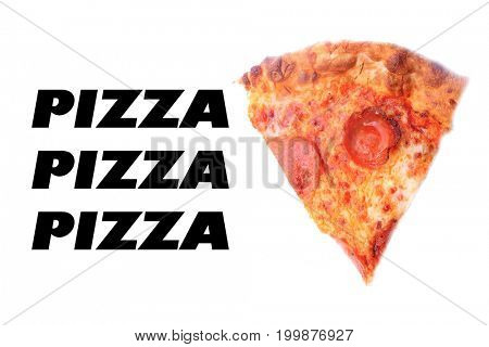 Pepperoni Pizza.  Pizza slice with pepperoni slices, cheese and sauce. Isolated on white. Room for text